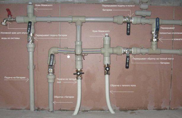 Установка полипропиленовых труб отопления