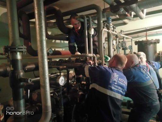 Монтаж оборудования для промывки в ИТП
