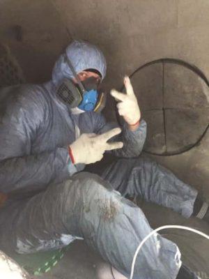 Процесс очистки внутри газоохладителя